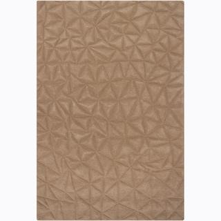 Hand-tufted Mandara Beige Solid Wool Rug (5'3x7'7)
