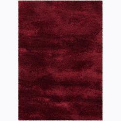 Hand-woven Mandara Red Shag Rug (5'3x7'7)