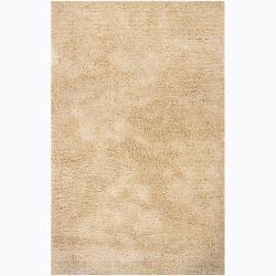 Hand-woven Mandara Beige Shag Rug (6'7x9'6)