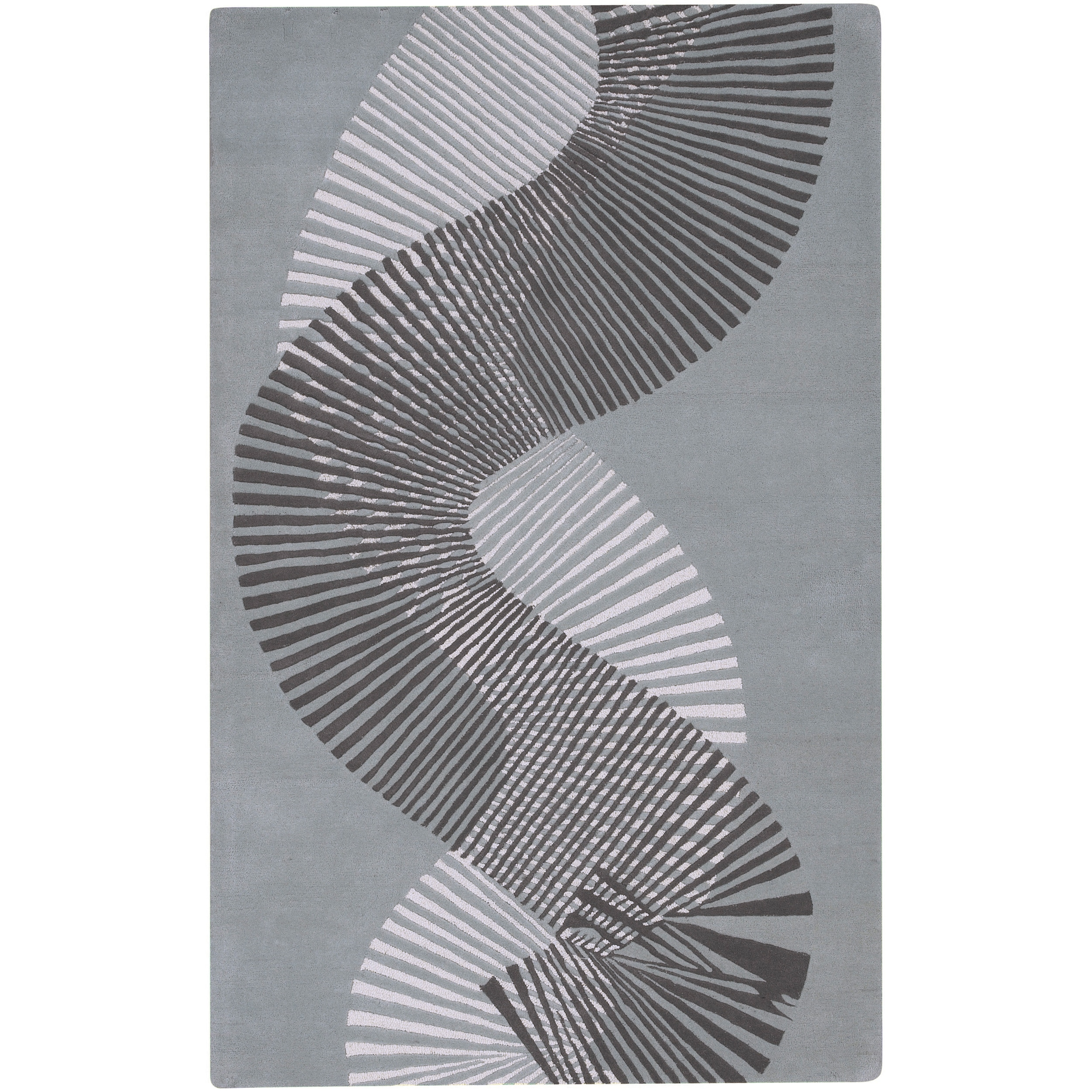 Hand-tufted Contemporary Grey Striped Caucasus New Zealand Wool Abstract Rug (9' x 13')