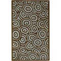 Hand-tufted Contemporary Blue/Brown Circles Celestial New Zealand Wool Abstract Rug (5' x 8')