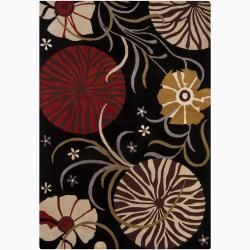 Contemporary Mandara Hand-Tufted Floral Black Wool Rug (5' x 7')