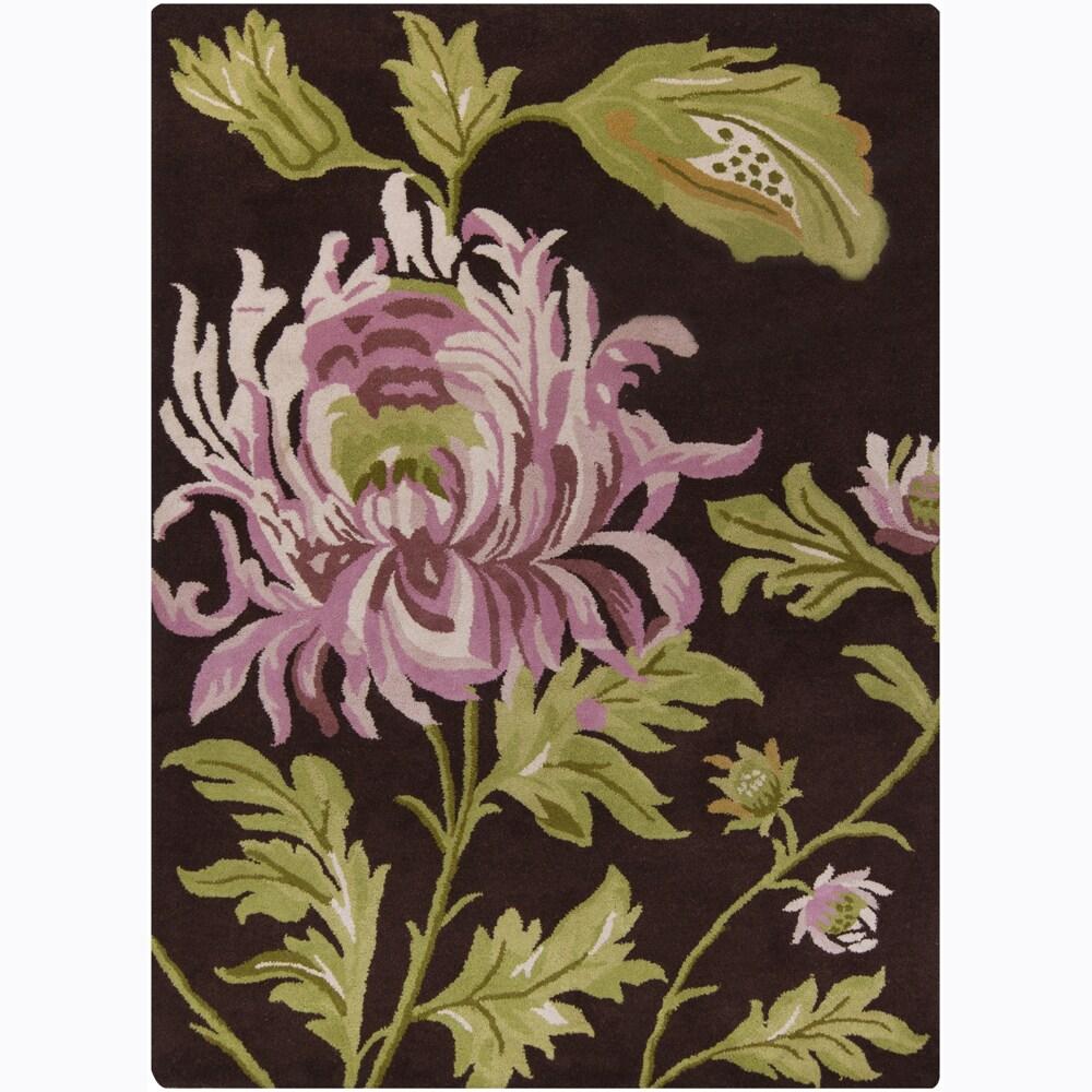 Mandara Hand-tufted Floral Brown Wool Rug (9' x 13')