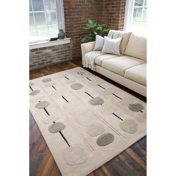 Hand-tufted Contemporary Beige Circles Bynar New Zealand Wool Abstract Rug (9' x 13')