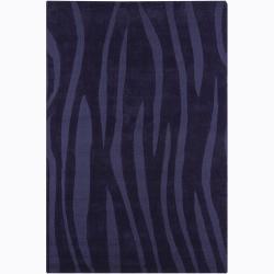 Hand-tufted Mandara Indigo Geometric Wool Rug (5' x 7'6)