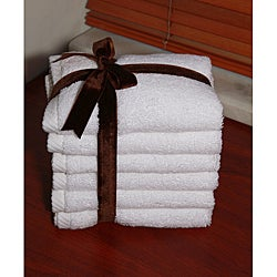 Authentic Hotel and Spa Plush Soft Twist Turkish Cotton White Washcoth (Set of 6)