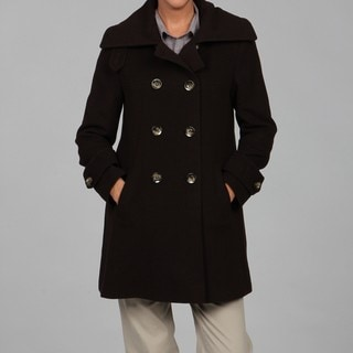 Larry Levine Women's Petite Double-breasted Camel Hair Coat