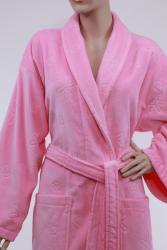 Authentic Pink Hotel Spa Floral Turkish Cotton Bath Robe