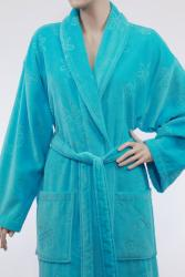 Unisex Turquoise Blue Authentic Hotel Spa Floral Turkish Cotton Bath Robe