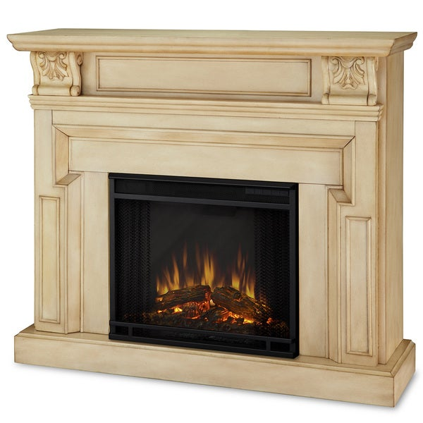 Real Flame Kristine White Antique Electric Fireplace