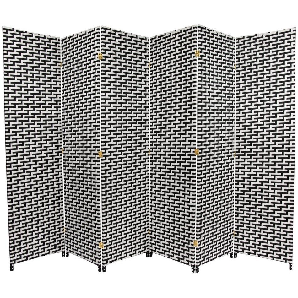 Black/White Fiber Weave 6-foot Room Divider (China)