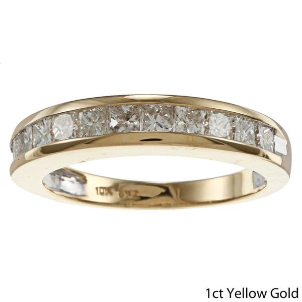 10k Gold 1ct, 1/4ct, or 1/6ct TDW Channel-set Princess Diamond Band (H-I, I2-I3)