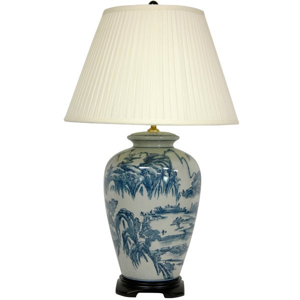 blue and white porcelain chinese landscape lamp china. Black Bedroom Furniture Sets. Home Design Ideas