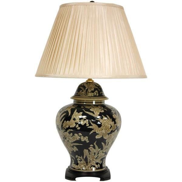 Black and Tan Porcelain Floral Bouquet Vase Lamp (China)