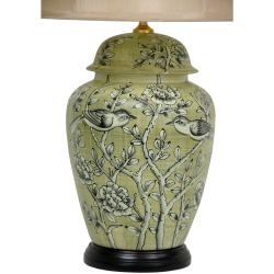 Russet Birds and Flowers Porcelain Vase Lamp (China)
