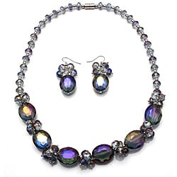 Bleek2Sheek Alexandrite Oval Crystal Necklace and Earring Set