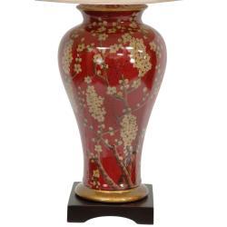 Floral Ecru Vase Lamp (China)