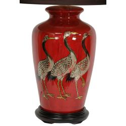 Red Crowned Cranes Porcelain Vase Lamp from China with Sateen Shade