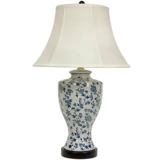 Handmade Blue and White Flower Vine Lamp with Fabric Shade