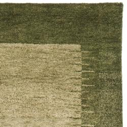 Hand-knotted Gabeh Solo Teal Wool Rug (2'3 x 9'6)