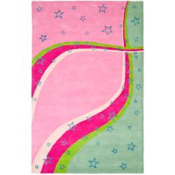 Handmade Children's Starlight Pink N. Z. Wool Rug (8' x 10')