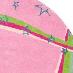Safavieh Handmade Children's Starlight Pink N. Z. Wool Rug (6' Round)