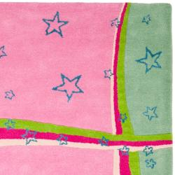 Handmade Children's Starlight Pink New Zealand Wool Rug (6' x 9')