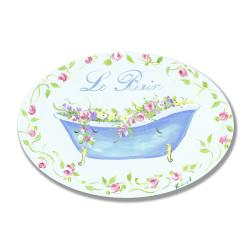 Blue Tub Floral Le Bain Plaque Oval