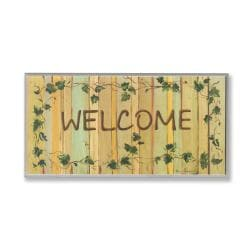 'Welcome' Ivy Detailed Rectangular Wall Plaque