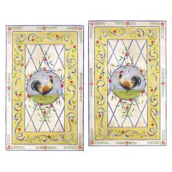 Yellow Rooster Set of 2 Rect