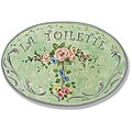 Green w/Flowers La Toilette Plaque Oval