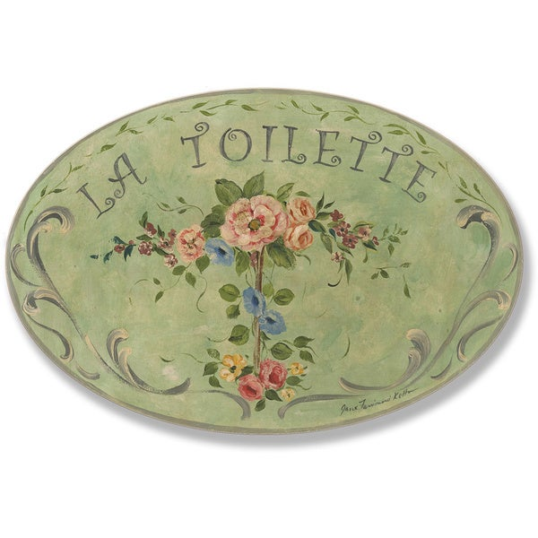 La Toilette Green with Flowers Oval Wall Plaque