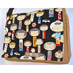 Handmade Medium Tan Kokeshi Dolls Messenger Bag