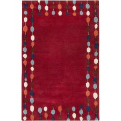 Paule Marrot Hand-tufted Contemporary Red Harrogate New Zealand Wool Abstract Rug (5' x 8')