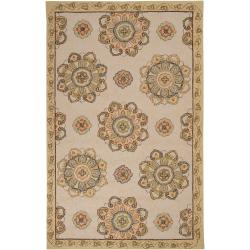 Hand-hooked Heathfield Beige Indoor/Outdoor Medallion Rug (8' x 10')