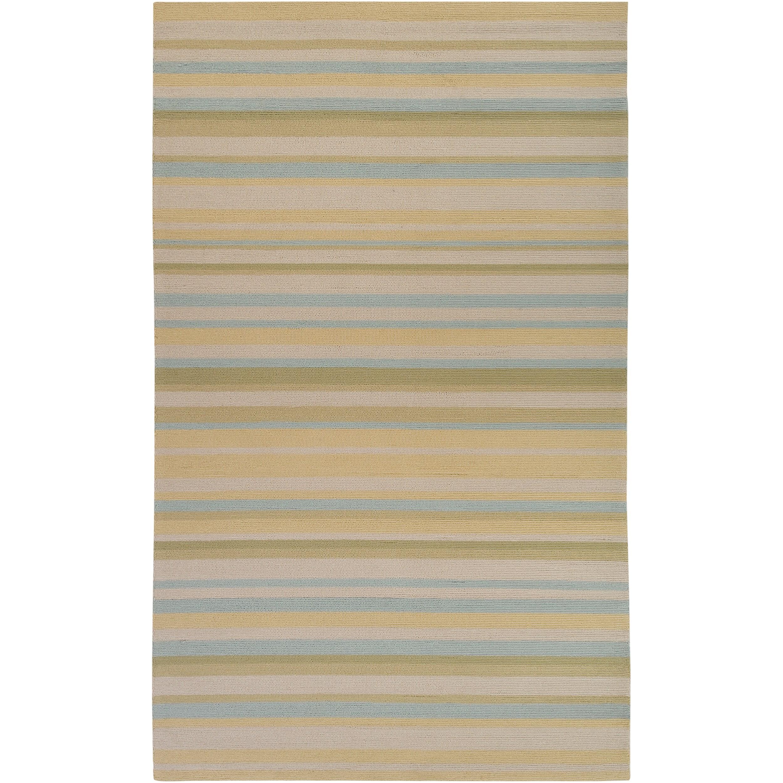 Hand-hooked Davidson Yellow Indoor/Outdoor Stripe Rug (9' x 12')