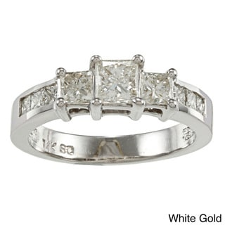 Auriya 14k Gold 1.5ct TDW Princess Diamond Engagement Ring (I-J, I1-I2)