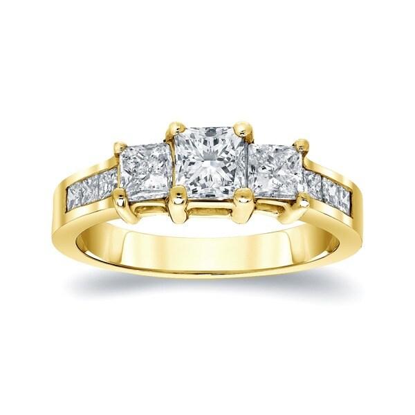 Auriya 14k Gold 1.5ct TDW Princess Diamond Engagement Ring (J-K, I1-I2)