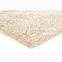 Hand-woven Mandara Beige Shag Rug (5'3 x 7'7)