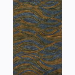 "Hand-Tufted Mandara Geometric Blue Wool Rug (7'9"" x 10'6"")"