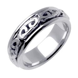 14k White Gold Celtic Men's Wedding Band