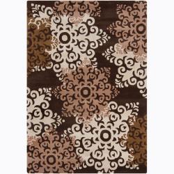 Hand-tufted Mandara Geometric Brown Wool Rug (7' x 10')