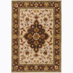 Hand-Tufted Mandara Oriental Ivory/Brown Wool Rug (5' x 7')