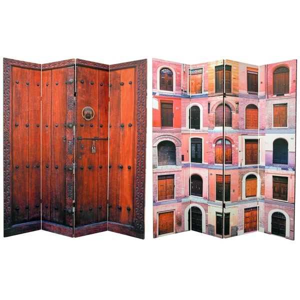 Double-sided 6-foot Doors 4-panel Canvas Room Divider (China)