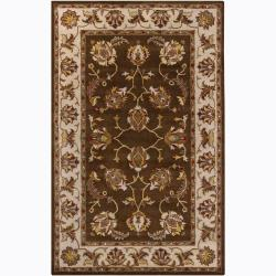 Hand-Tufted Mandara Brown Oriental Wool Rug (8' x 10')
