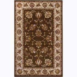 Hand-Tufted Mandara Brown Oriental Wool Rug (8' x 10')