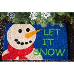 Let it Snow Hand Woven Coconut Fiber Doormat