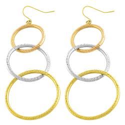 Fremada 14k Tri-color Gold Diamond-cut Graduated Loops Dangle Earrings