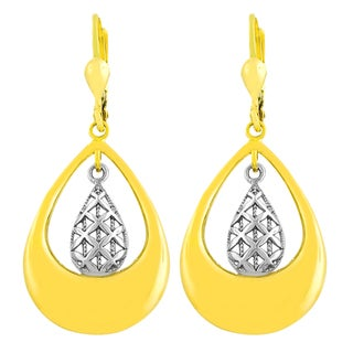 Fremada 14k Two-tone Gold Double Teardrop Filigree Dangle Earrings