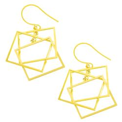 Fremada 14k Yellow Gold Triple Square Dangle Earrings